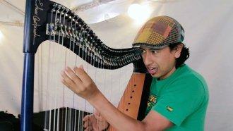 Edmar Castaneda - Backstage Warm-Up - Iowa City Jazz Festival